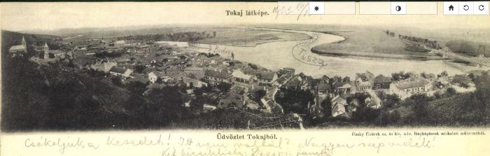 Tokaj látképe egy képeslapon